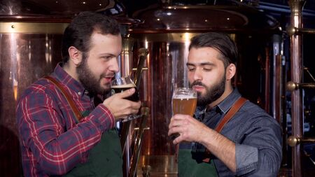 Two professional brewers clinking glasses drinking delicious craft beer together. Handsome bearded brewer celebrating with his colleague, enjoying freshly brewed beer