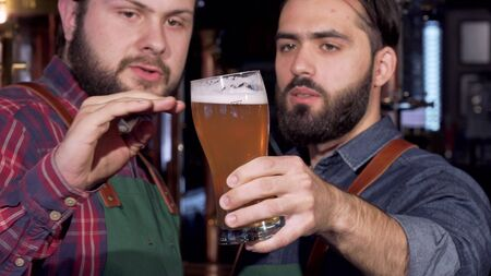 Professional brewers examining delicious craft beer in a glass. Selective focus on a glass of beer in the hands of a brewer inspecting the drink with his colleague. Brewery concept Stock fotó - 130800510