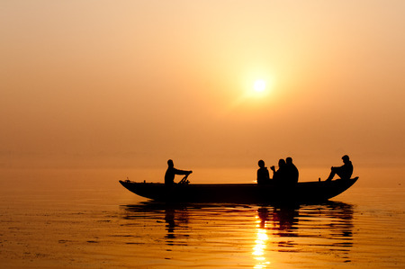 ganges: Golden sunrise in Varanasi Stock Photo