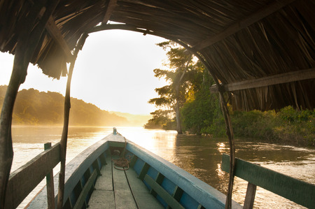 Golden sunset on the river between Mexico and Guatemala