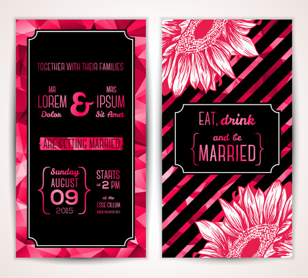 Wedding invitation cards template with abstract flowers.  Vector