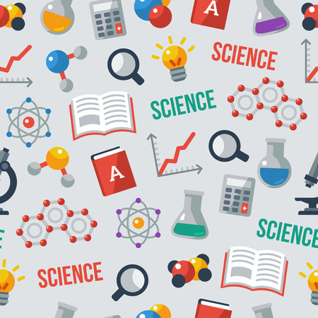 科学のシームレスなパターン。学校の背景。