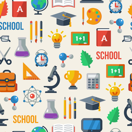 Back to school seamless pattern. Education background. Vector