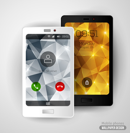 call log: Modern smartphone with crystal backgrounds. Illustration