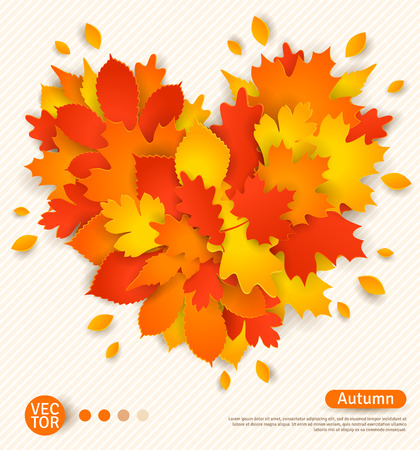 Autumn design with colorful leaves formed heart. I love autumn concept.  Vector