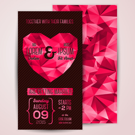 Wedding invitation cards template with abstract polygonal heart.  Vector