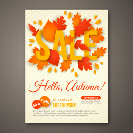 Autumn Sale flyer design with colorful leaves. Illustration