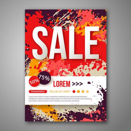 Sale Poster Template with Watercolor Paint Splash. Vector
