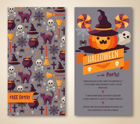 cute halloween: Vector illustration. Fashionable Halloween party invitation.  Illustration