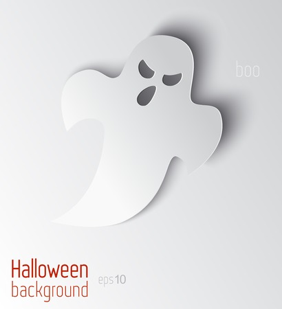 poltergeist: Vector illustration. 3d ghost with long shadow.