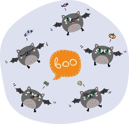 Halloween flying bats. Vector illustration. Cute characters. Vector