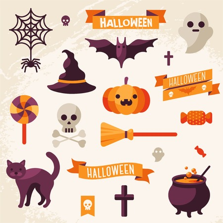 carved pumpkin: Set of Halloween ribbons and characters. Vector illustration. Textured background.