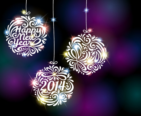 happy new year banner: Vector illustration. Black disco background with flare lights. Invitation or greeting card design. Illustration