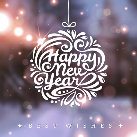 happy new year card: Vector illustration. Blurred background. Snowy evening street with lights. Wallpaper. Illustration