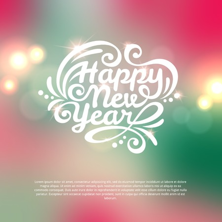 Happy New Year lettering Greeting Card. Vector illustration. Blurred background with lights. Illustration