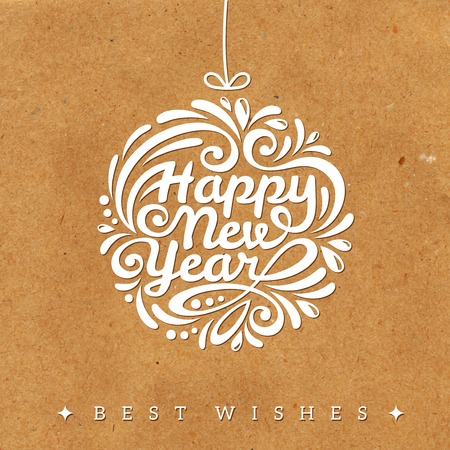 happy new year: Christmas and New Year greeting card. Vector illustration. Textured background. Wrapping paper. Cardboard with rough structure. Old paper. Wallpaper. Illustration