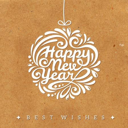 muerdago navideÃ?  Ã? Ã?±o: Navidad y tarjeta de felicitación de año nuevo. Ilustración del vector. Con textura de fondo. Papel de regalo. Cartón con estructura en bruto. Papel viejo. Wallpaper.
