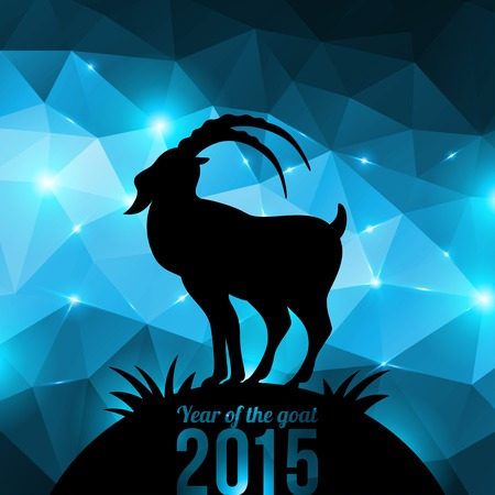 Year of the Goat. Vector illustration. Black goat silhouette on shining geometric background. Vector