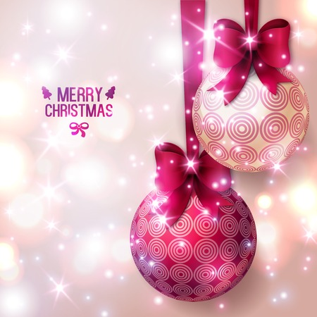 christmas bulbs: Purple Christmas baubles on light background. Vector illustration. Christmas balls with bows.