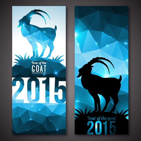 Vector illustration. Chinese astrological sign. New Year 2015. Shining background made up from triangles. Vector
