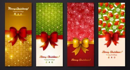 Design in classic Christmas colors. Holiday brochure design for corporate greeting cards. Vector