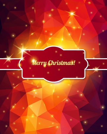 outdoor lights: Merry Christmas Card. Vector illustration. Polygonal background with lights. Sparkles.