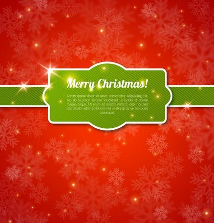 Merry Christmas Card. Vector illustration. Blurred background. Snow out of focus. Snowfall on red backdrop with green stripped frame and ribbon.   Vector