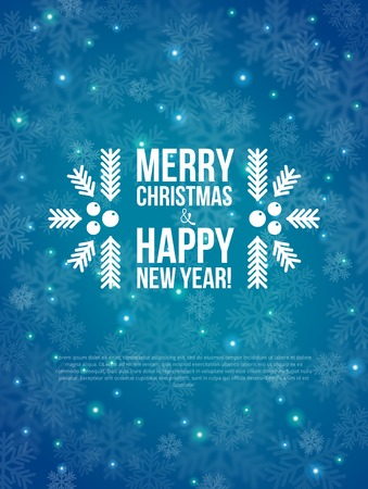 メリー クリスマスと幸せな新年のカード。 ベクトルの図。背景をぼかし。  イラスト・ベクター素材