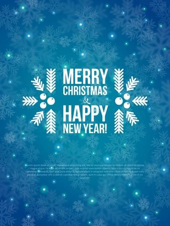 Prettige Kerstdagen en Gelukkig Nieuwjaar Card. Vector illustratie. Onscherpe achtergrond. Stock Illustratie