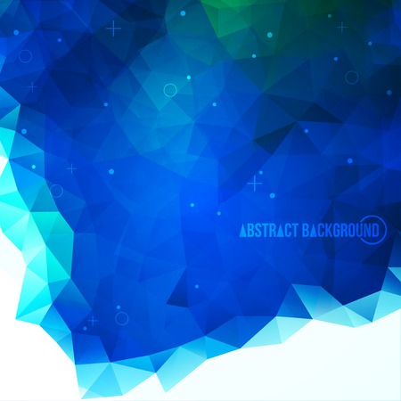 Blue abstract polygonal backdrop. Particles. Beautiful geometric design for business presentations. Vector