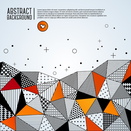 Vector illustration with space for text. Contrasting fashionable polygonal backdrop with black and orange panes. Beautiful geometric design for business presentations. Vector