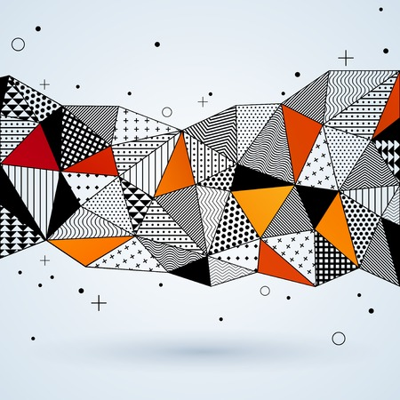 Vector illustration with space for text. Contrasting fashionable polygonal backdrop with black and orange panes. Beautiful geometric design for business presentations Vector