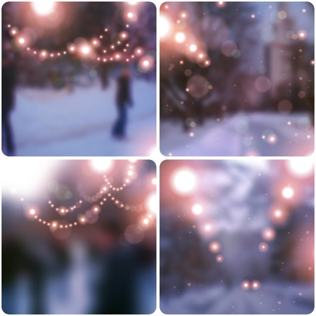 Vector illustration. Blurred background. Snowy evening street with lights garlands. Wallpaper.