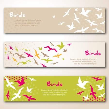 Banners with flying birds silhouettes. Vector illustration. Vector