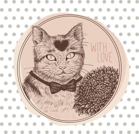 aster: Greeting card with cat. Vector illustration. Hand drawn. Illustration