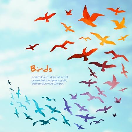 bandada pajaros: Banderas con los pájaros que vuelan siluetas. ilustración vectorial.