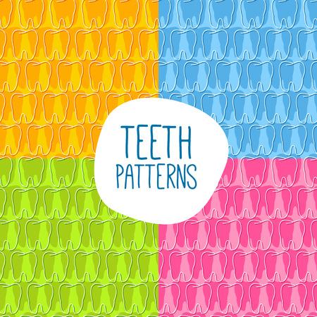 whitening: Seamless teeth pattern. Vector illustration. Four variations of color. Illustration