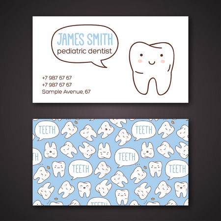 visiting card: Vector illustration. Children dentistry and orthodontics. Cute vector characters.