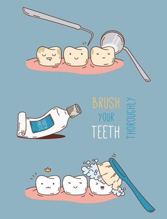 치과 진단 및 치료에 대한 만화. 어린이 치과 및 치열 교정을위한 벡터 일러스트 레이 션. 귀여운 벡터 문자. 재미있는 치아. 일러스트