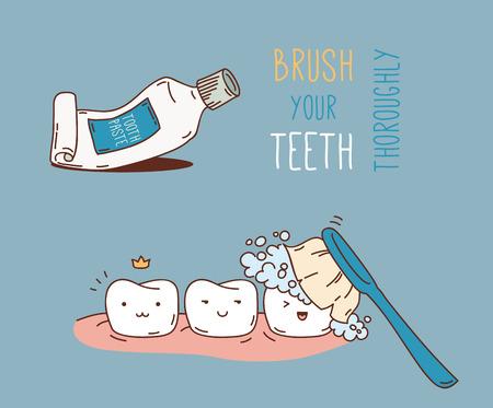 치과 진단 및 치료에 대한 만화. 어린이 치과 및 교정을위한 벡터 일러스트 레이 션. 귀여운 벡터 문자. 재미 치아.