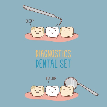pediatric: Comics about dental diagnostics and treatment.  Vector illustration for children dentistry and orthodontics. Cute vector characters. Funny teeth.