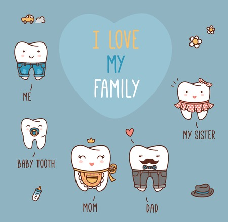 Happy family teeth set. Dental collection for your design. Vector cartoons. Illustration for children dentistry and orthodontics. I love my family message. Mom, dad, sister and brother, baby tooth. Ilustração