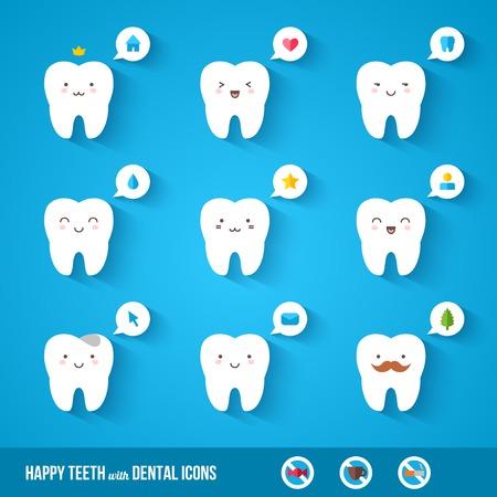 dientes caricatura: Larga sombra. Caracteres lindos del vector. Bocadillo de diálogo. Ilustración para niños odontología sobre el dolor de muelas y el tratamiento.