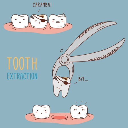 Teeth treatment and care. Dental collection of characters for your design. Illustrations for children dentistry and kids about toothache, care and treatment. Tooth dental extraction, removal of tooth. Vector