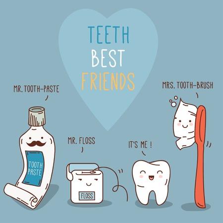 Ilustracji wektorowych. Koncepcja stomatologiczne dla swojego projektu. Ilustracja dla dzieci w stomatologii i ortodoncji. Śliczne zęby postacie.