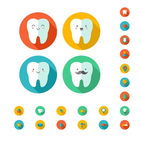 Cute vector characters. Classic flat style. Icons for dentist web site - home, e-mail, search, contact us, etc. Vector