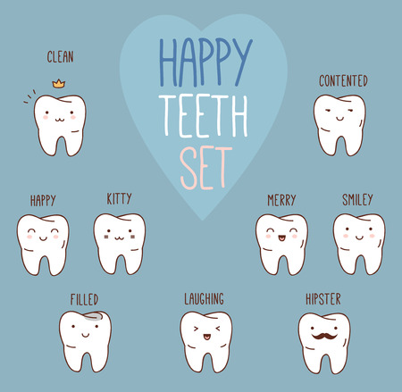 odontologia: Dientes felices fij�. Vectores