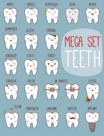 Teeth treatment set. Vector