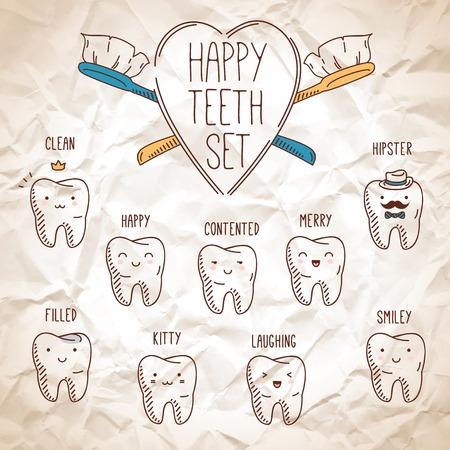 Happy teeth set. Векторная Иллюстрация