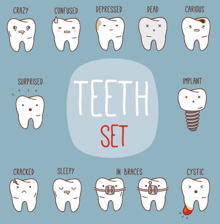 dirty teeth: Teeth treatment set.